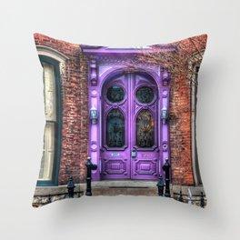 Purple Doorway, Brick Brownstone Throw Pillow