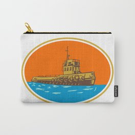 Tugboat Tug Towboat Woodcut Carry-All Pouch