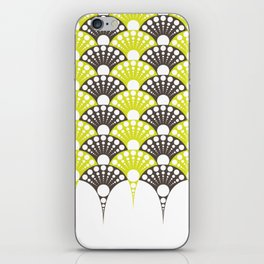 brown and lime art deco inspired fan pattern iPhone Skin