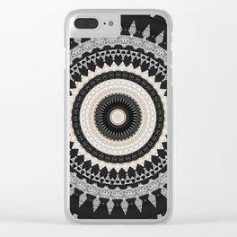 Grey Taupe Boho Mandala Design Clear iPhone Case