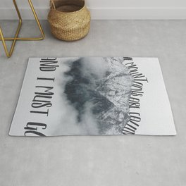 The Mountains are Calling and I Must Go-John Muir Quote and Landscape Typography Rug