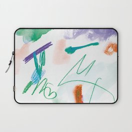 Abstract Scribbles Green Purple on White Laptop Sleeve
