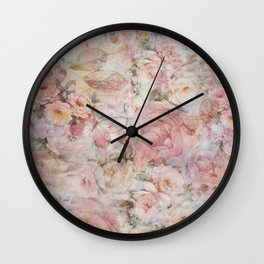 Vintage elegant blush pink collage floral typography Wall Clock