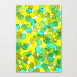 Watercolor Circles - Yellow and Mint Green Canvas Print