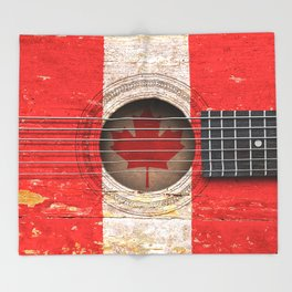 Old Vintage Acoustic Guitar with Canadian Flag Throw Blanket
