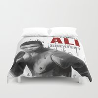 ali gulec Duvet Covers featuring Ali the greatest by daniel berea