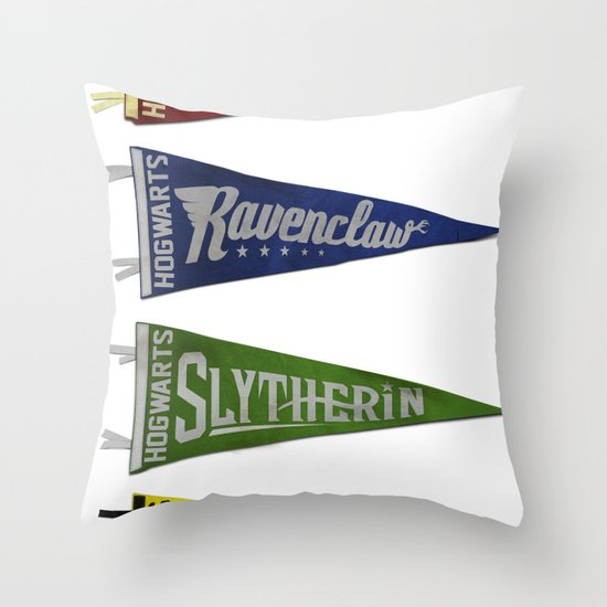 Vintage Hogwart's Pennant Collection Throw Pillow
