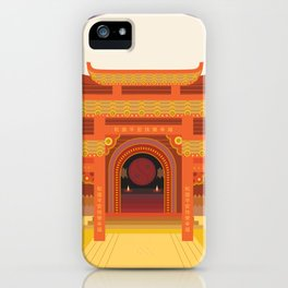 full moon vector japanese temple iPhone Case