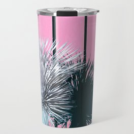 Yucca Plant in Front of Striped Pink Wall Travel Mug