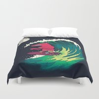 surfer Duvet Covers featuring Moonlight Surfer by DinoMike