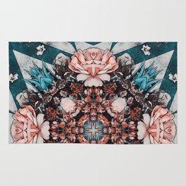 Art nouveau flower picture Rug