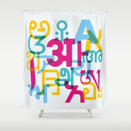 A in Scripts Around the World Shower Curtain
