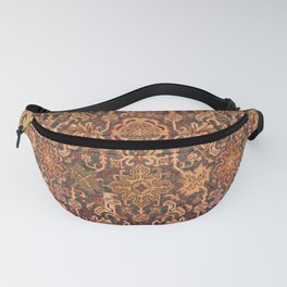 Floral Medallion II // 18th Century Colorful Blue Lime Green Pink Sapphire Plum Burlap Brown Pattern Fanny Pack
