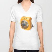 terry fan V-neck T-shirts featuring Fan by Lemon Liu