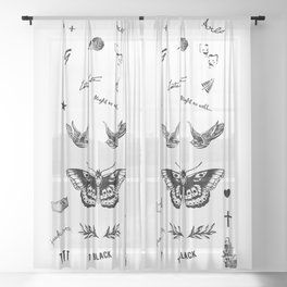 Harry's Tattoos Two Sheer Curtain