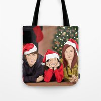 allison argent Tote Bags featuring Merry Christmas - Argent Family by Finduilas