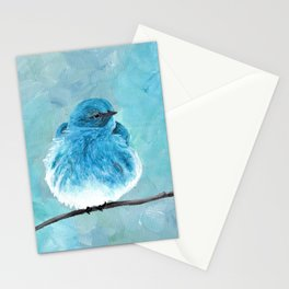 Mountain Bluebird Acrylic Art, Blue Bird Painting, Bird on a Branch, Wall Art, Fluffy Bird Stationery Cards