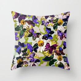Vintage Butterflies & Daisies Throw Pillow