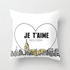 Je T'aime New York Throw Pillow