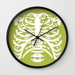 Human Rib Cage Pattern Chartreuse Green 2 Wall Clock