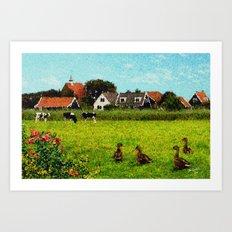 Landscape near Uitdam Art Print