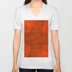 Fractal Eternal Rounded Cross in Red Unisex V-Neck