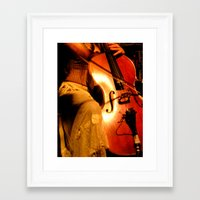 cello Framed Art Prints featuring Cello by LittleTinyAnimals