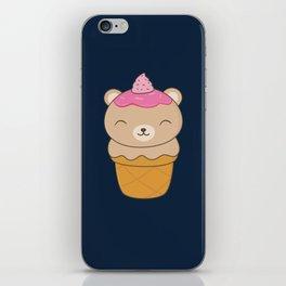Kawaii Bear Ice Cream Cone iPhone Skin