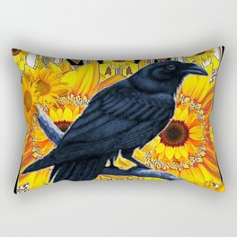 GRAPHIC BLACK CROW & YELLOW SUNFLOWERS ABSTRACT Rectangular Pillow