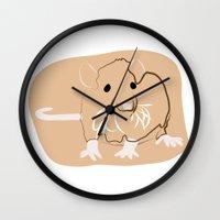rat Wall Clocks featuring Rat by Jessica Slater Design & Illustration