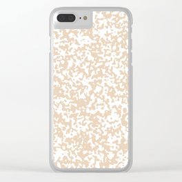 Small Spots - White and Pastel Brown Clear iPhone Case