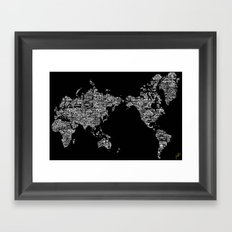 Passport Stamp Map Special Edition, Black and White Framed Art Print