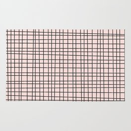 Back to School- Simple Grid Pattern- Black & Pink - Mix & Match with Simplicity of Life Rug