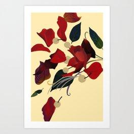 Red petal dances. Art Print