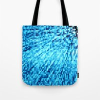 turquoise Tote Bags featuring TURquoise Pixel Wind by 2sweet4words Designs