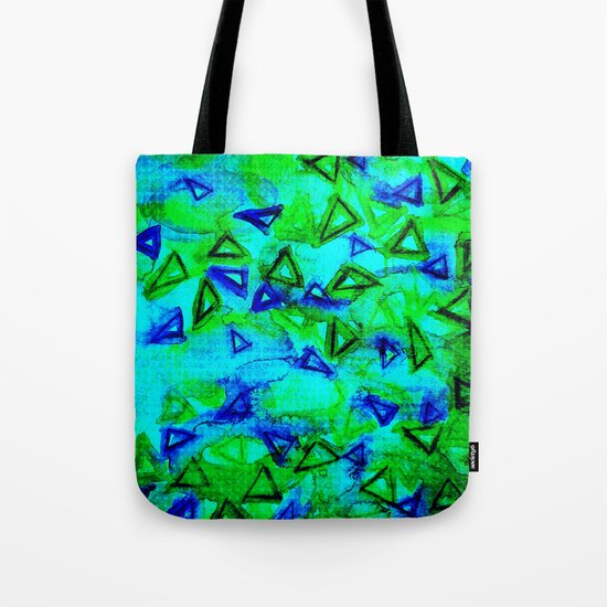 ANALOG zine - TECHNO VIBE Collaboration Piece, Bold Colorful Abstract Watercolor Painting Music Tote Bag