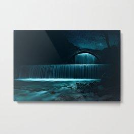 Moonlit Waterfall under Starry Skies Photographic Landscape Metal Print