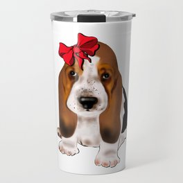 Cute puppy girl with red bow .Dog lovers gift idea  Travel Mug