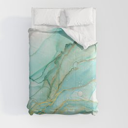 Magic Bloom Flowing Teal Blue Gold Comforters