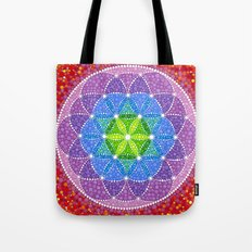 Rainbow Flower of Life Tote Bag