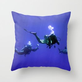 Photographing an Oceanic Whitetip Throw Pillow