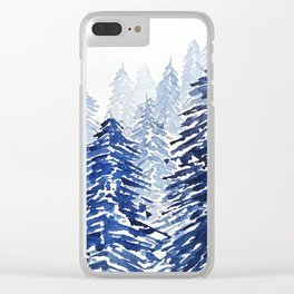 A snowy pine forest Clear iPhone Case