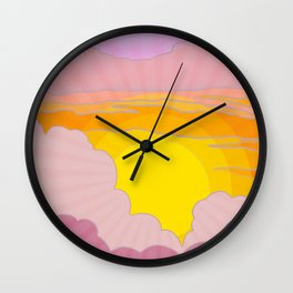 Sixties Inspired Psychedelic Sunrise Surprise Wall Clock