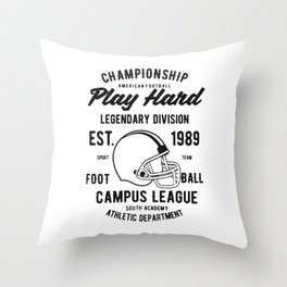 chmpionship play hard Throw Pillow