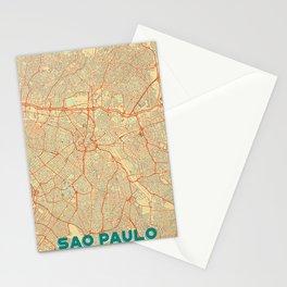 Sao Paulo Map Retro Stationery Cards