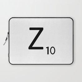 Letter Z - Custom Scrabble Letter Tile Art - Scrabble Z Initial Laptop Sleeve