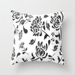 Chryanthemum black on white by Lorloves Design Throw Pillow