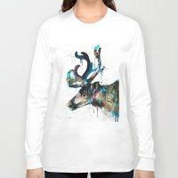 reindeer Long Sleeve T-shirts featuring Reindeer  by Slaveika Aladjova