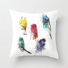 Palette Birds Throw Pillow