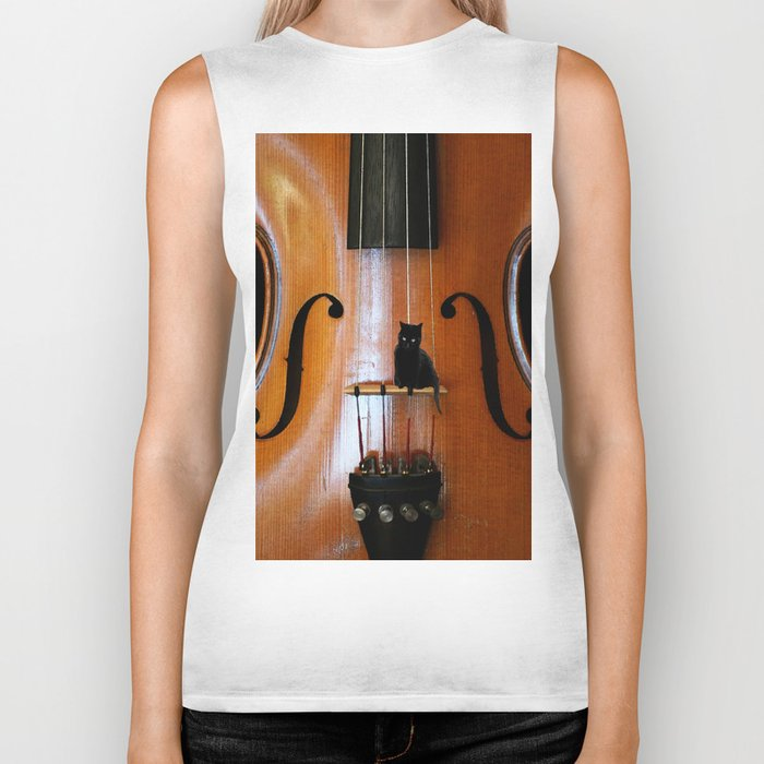 Black Cat And Violin #decor #society6 Biker Tank